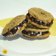 Chocolate Chip Sandwich Cookies with Mini Chip Garnish